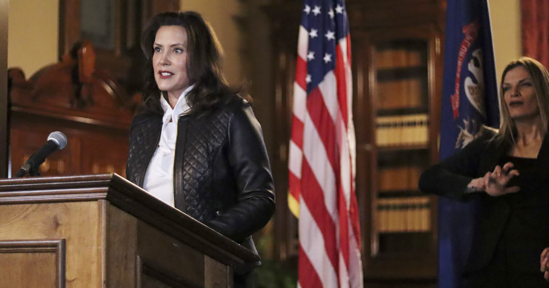In a photo provided by the Michigan Office of the Governor, Michigan Gov. Gretchen Whitmer addresses the state during a speech in Lansing, Michigan, on Oct. 8, 2020.