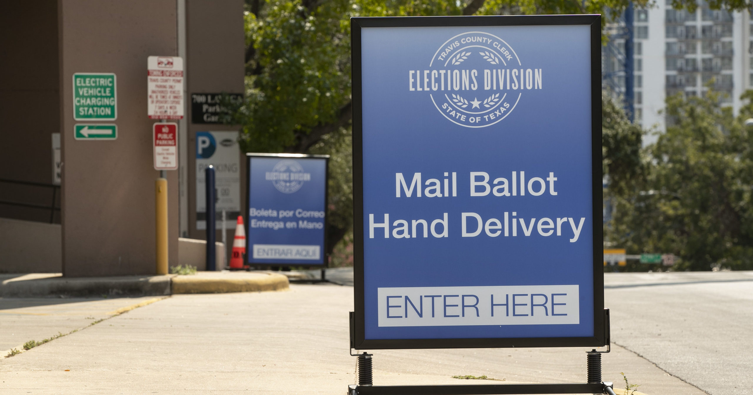 A sign indicates a ballot drop-off location in Austin, Texas, on Oct. 1, 2020. The number of locations where Texas voters can drop off their mail-in ballots has been vastly reduced to ensure poll security, Gov. Greg Abbott said.