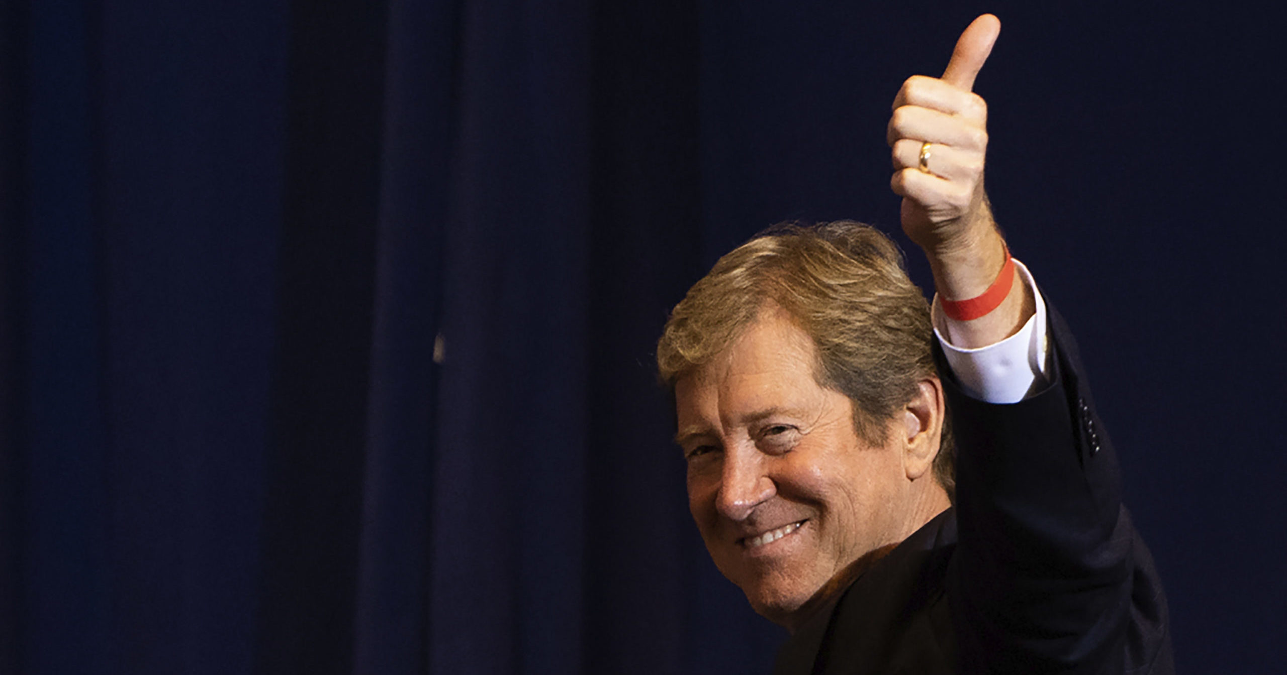 Republican Senate candidate Jason Lewis of Minnesota stands after being recognized by Vice President Mike Pence at Minneapolis-St. Paul International Airport on Sept. 24, 2020.