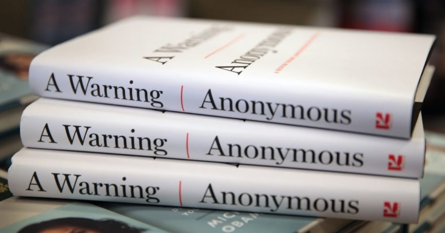 """Copies of the anti-Trump book """"A Warning"""" by Anonymous are offered for sale at a Barnes & Noble store in Chicago on Nov. 19, 2019."""