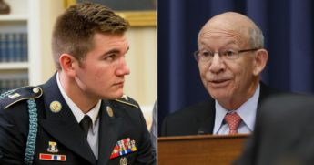 Army veteran Alek Skarlatos, left, a Republican, is challenging House Transportation Committee Chair Rep. Peter DeFazio, an Oregon Democrat.