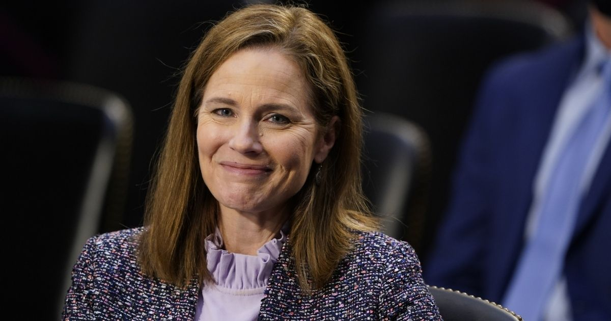 Supreme Court nominee Judge Amy Coney Barrett testifies before the Senate Judiciary Committee on the third day of her Supreme Court confirmation hearings on Capitol Hill in Washington, D.C., on Wednesday.