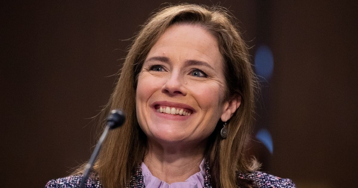 Supreme Court nominee Judge Amy Coney Barrett testifies before the Senate Judiciary Committee on the third day of her Supreme Court confirmation hearing on Capitol Hill on Oct. 14, 2020, in Washington, D.C.