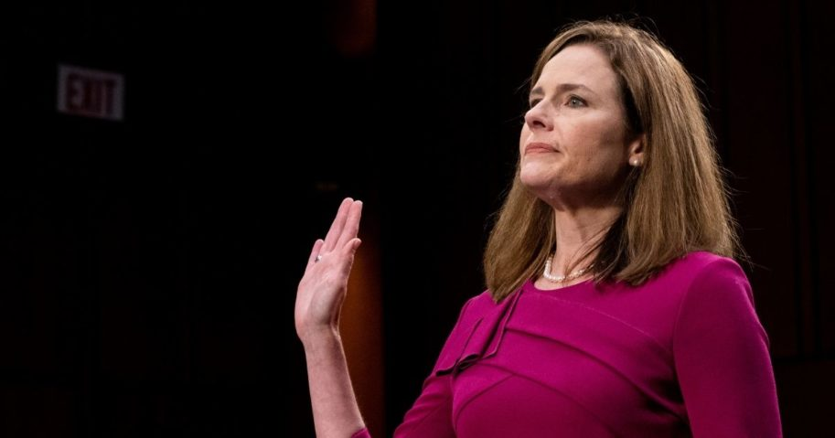Supreme Court nominee Amy Coney Barrett is sworn in during her Senate Judiciary Committee confirmation hearing on Capitol Hill in Washington, D.C., on Monday.