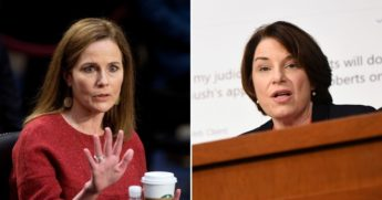"""Judge Amy Coney Barrett of the U.S. Court of Appeals for the 7th Circuit, left, set the record straight Tuesday with regard to questions of character and judicial partiality, telling Minnesota Democratic Sen. Amy Klobuchar that she does not """"attack people, just ideas."""""""