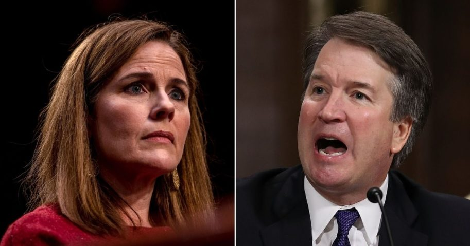 Senate Democrats pursued a similar strategy during the confirmation hearings for Judge Amy Coney Barrett, left, as they did for Justice Brett Kavanaugh.