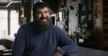 Joe Malcoun, co-owner of the Blind Pig bar in Ann Arbor, Michigan, appears in a campaign ad for Democratic presidential nominee Joe Biden.