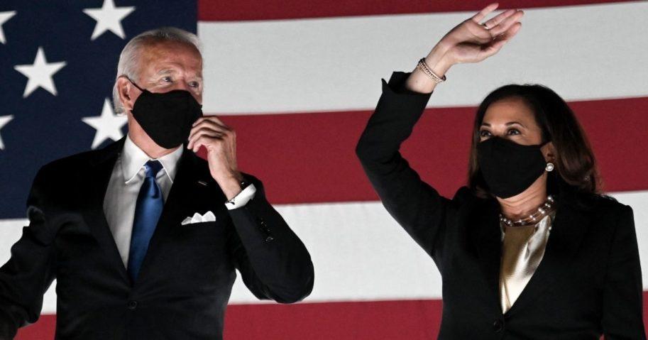 Democratic presidential nominee Joe Biden and his running mate, Sen. Kamala Harris of California, appear together in Wilmington, Delaware, on Aug. 20, 2020.