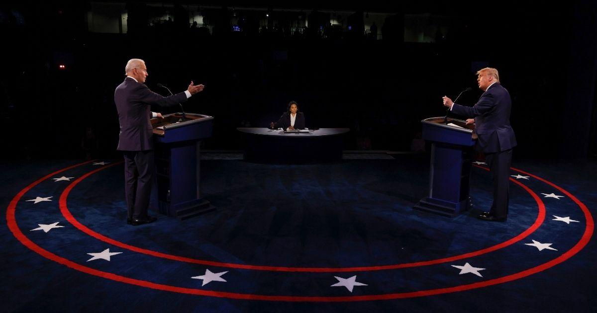 Democratic presidential candidate Joe Biden and President Donald Trump debate at Belmont University in Nashville, Tennessee, on Thursday.