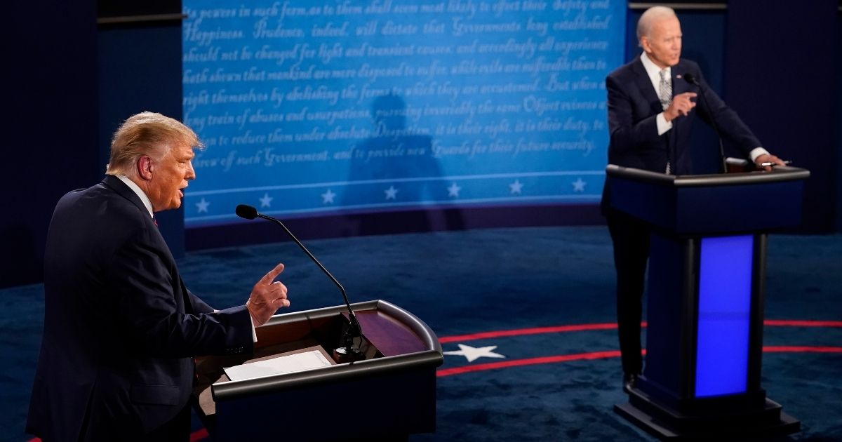 President Donald Trump and Democratic presidential nominee Joe Biden speak during the first presidential debate at the Health Education Campus of Case Western Reserve University in Cleveland on Sept. 29, 2020.