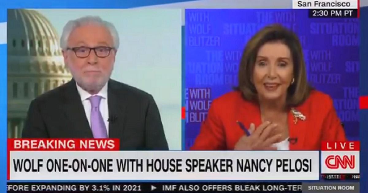 CNN's Wolf Blitzer, left; and House Speaker Nancy Pelosi, right.