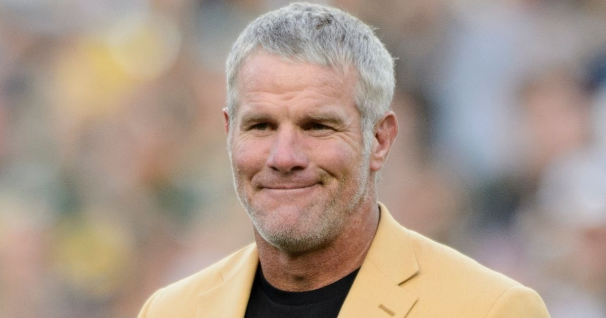 Former Packers quarterback Brett Favre looks on as he is inducted into the Ring of Honor at Lambeau Field in Green Bay, Wisconsin, during a halftime ceremony Oct. 16, 2016.