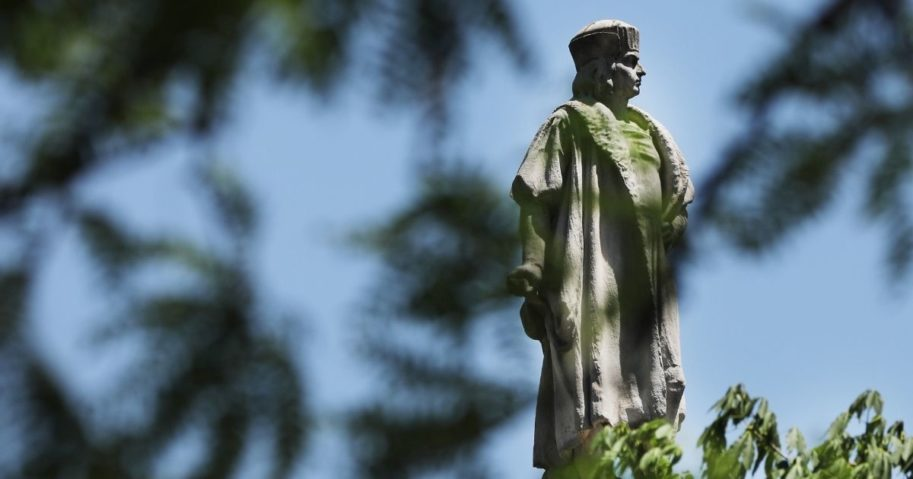 A statue of Christopher Columbus stands in Columbus Circle in New York City on June 25, 2020.
