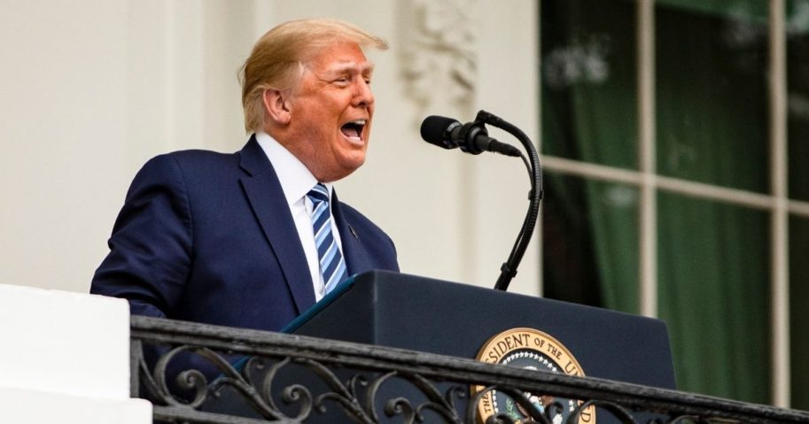 President Donald Trump addresses a rally in support of law and order on the South Lawn of the White House on Saturday in Washington, D.C.