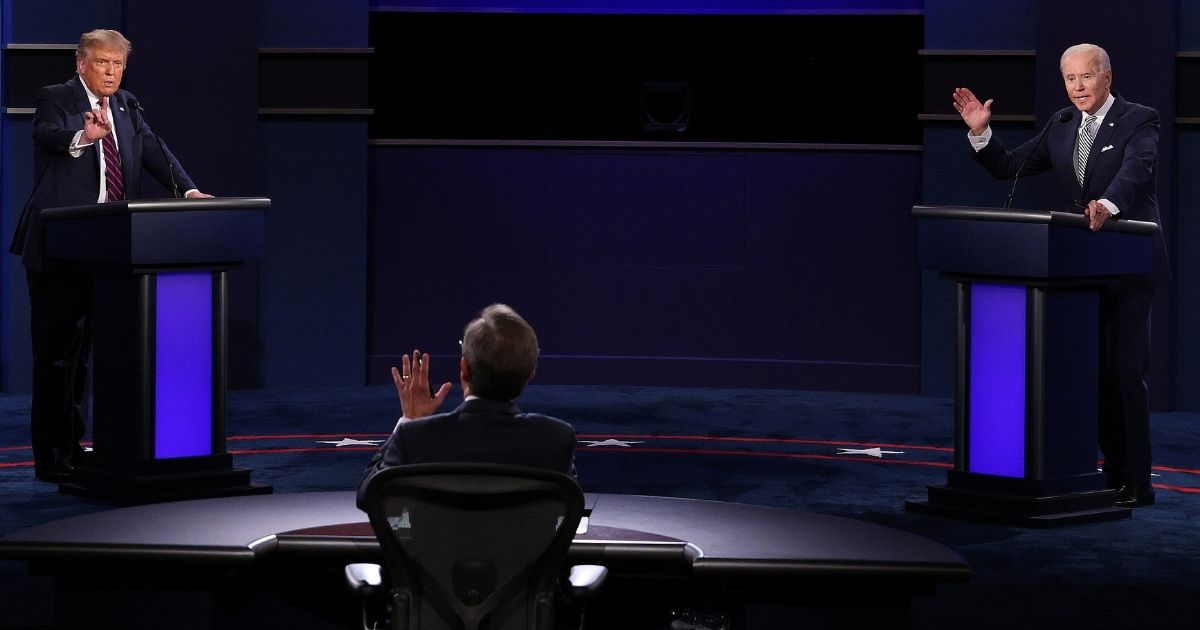 President Donald Trump and Democratic presidential nominee Joe Biden participate in the first presidential debate moderated by Fox News anchor Chris Wallace at the Health Education Campus of Case Western Reserve University on Sept. 29, 2020, in Cleveland.