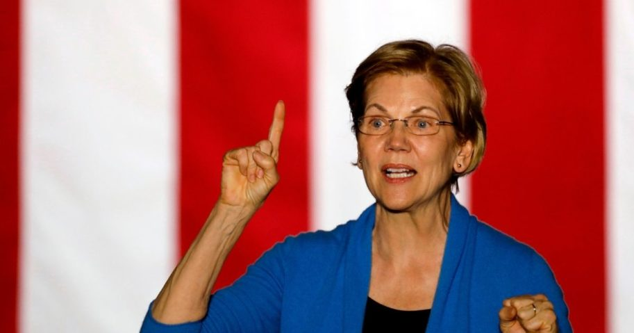 Democratic Sen. Elizabeth Warren of Massachusetts gestures as she speaks during a campaign rally at Eastern Market in Detroit on March 3, 2020.