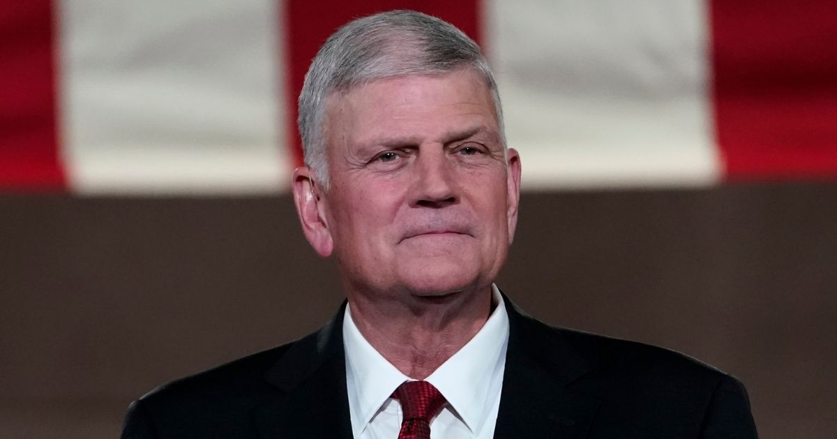 The Rev. Franklin Graham prepares to tape his prayer for the fourth day of the Republican National Convention from the Andrew W. Mellon Auditorium in Washington on Aug. 27, 2020.