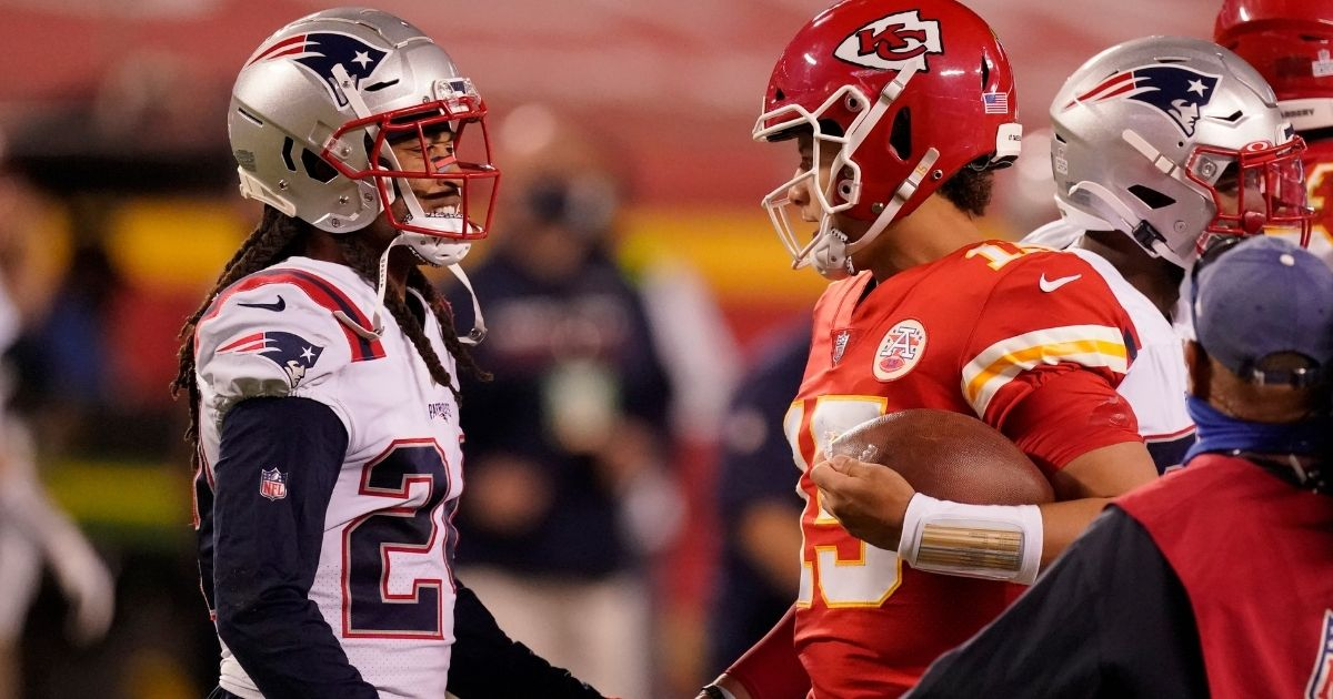 New England cornerback Stephon Gilmore, left, talks with Kansas City quarterback Patrick Mahomes after the Patriots lost to the Chiefs 26-10 on Oct. 5, 2020, at Arrowhead Stadium.