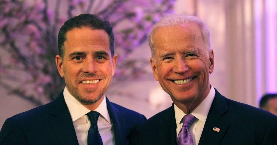 Hunter Biden, left, and then-Vice President Joe Biden attend the World Food Program USA's Annual McGovern-Dole Leadership Award Ceremony at Organization of American States on April 12, 2016, in Washington, D.C.
