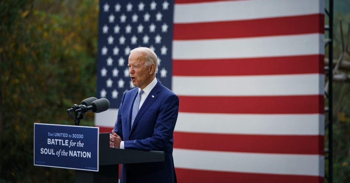 Democratic presidential nominee Joe Biden speaks during a campaign event at the Mountain Top Inn and Resort on Tuesday in Warm Springs, Georgia.