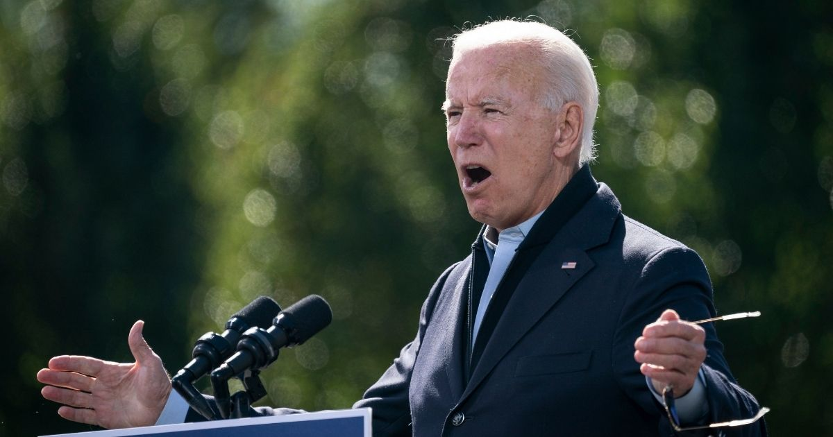 Democratic presidential nominee Joe Biden speaks during a drive-in campaign rally at Riverside High School in Durham, North Carolina, on Sunday.