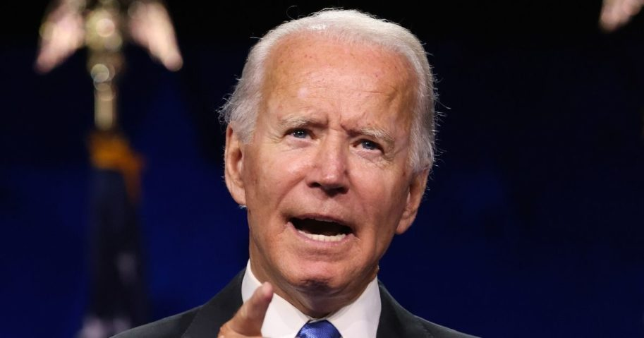Democratic presidential nominee Joe Biden delivers his acceptance speech on the fourth night of the Democratic National Convention from the Chase Center on Aug. 20, 2020, in Wilmington, Delaware.