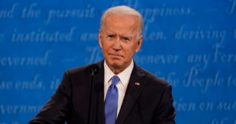 Democratic presidential nominee Joe Biden listens during the second and final presidential debate at Belmont University in Nashville, Tennessee, on Thursday.