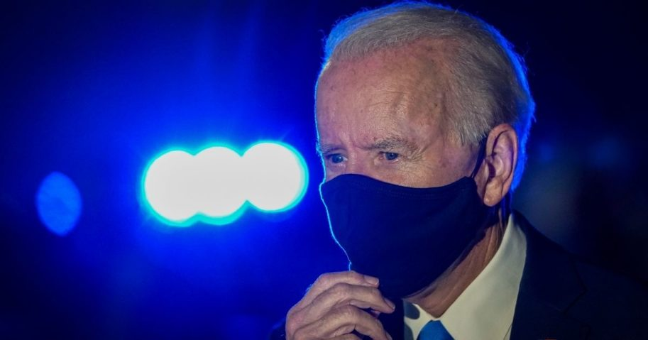 Democratic presidential nominee Joe Biden speaks to reporters before boarding his campaign plane at Nashville International Airport in Nashville, Tennessee, on Thursday.