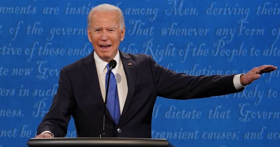 Democratic presidential candidate Joe Biden speaks during the final presidential debate at Belmont University in Nashville, Tennessee, on Thursday.