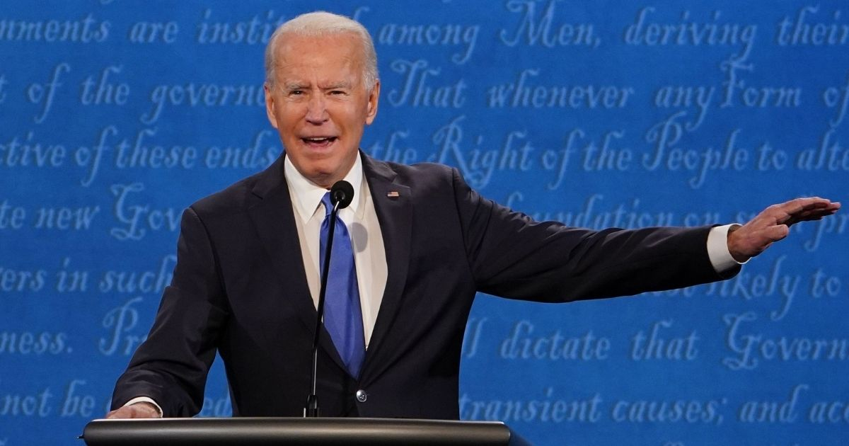 Democratic presidential candidate Joe Biden speaks during the final presidential debate at Belmont University in Nashville, Tennessee, on Thursday.