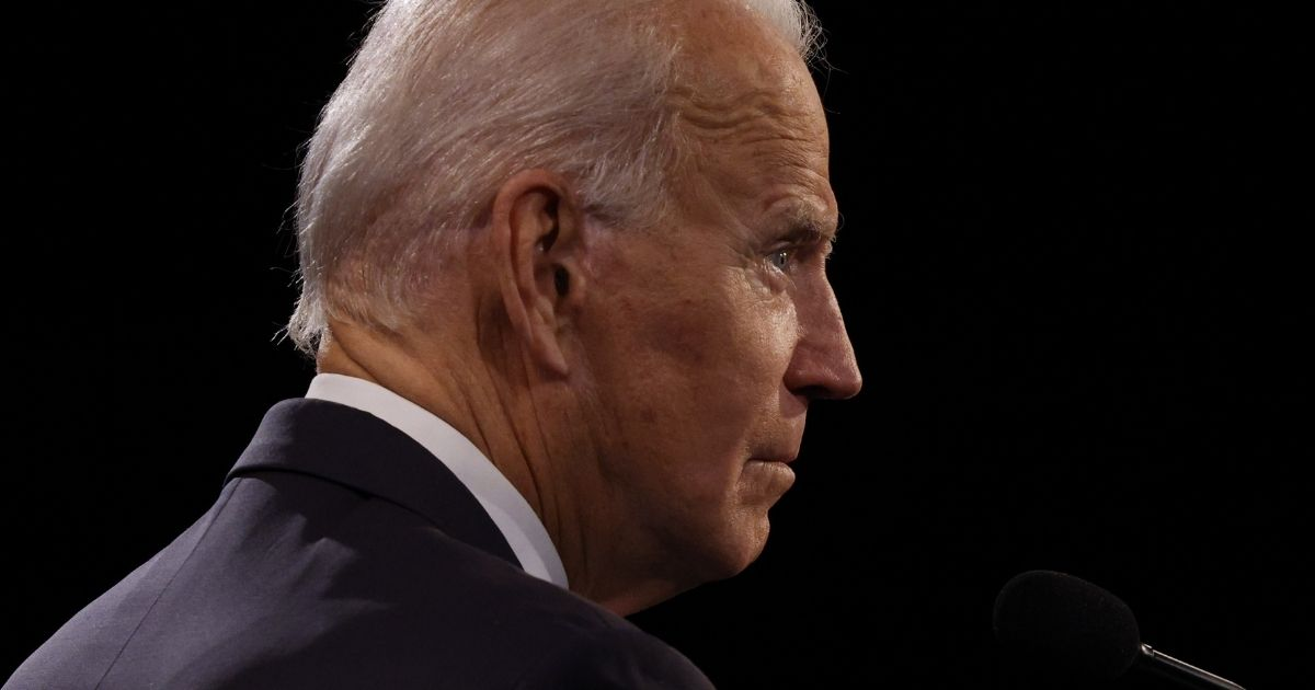 Democratic presidential nominee Joe Biden glares during his debate with President Donald Trump at Belmont University in Nashville, Tennessee, on Oct. 22.