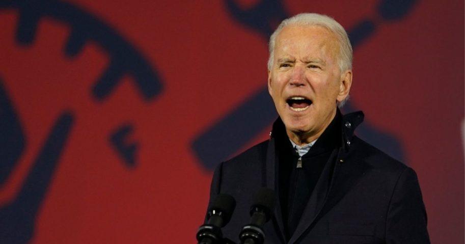 Democratic presidential nominee former Vice President Joe Biden speaks Friday at Michigan State Fairgrounds in Novi, Michigan.