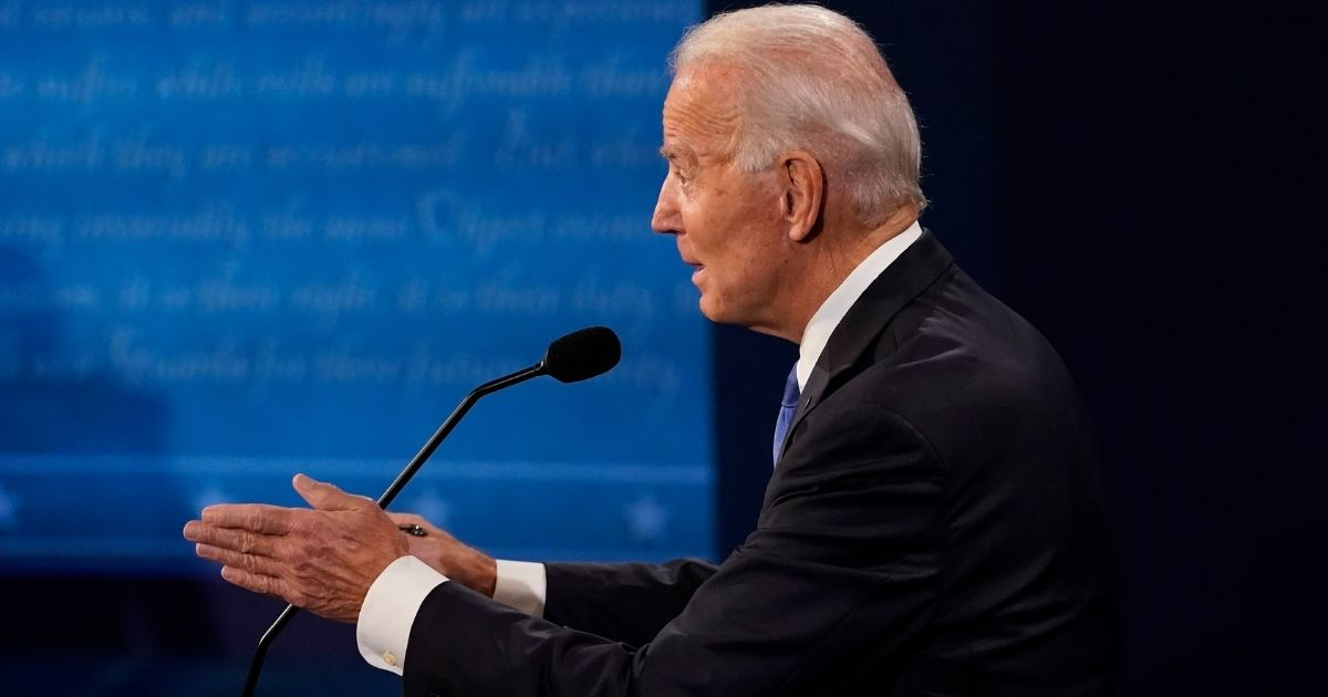 Democratic presidential nominee former Vice President Joe Biden answers a question during the second and final presidential debate at Belmont University on Thursday in Nashville, Tennessee.