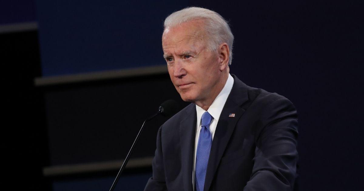 Democratic presidential nominee Joe Biden participates in the final presidential debate against President Donald Trump at Belmont University on Thursday in Nashville, Tennessee.