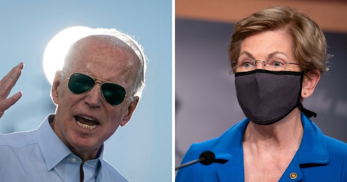 Democratic Sen. Elizabeth Warren of Massachusets, right, reportedly wants to be Joe Biden's, left, Treasury secretary if he wins the 2020 election.