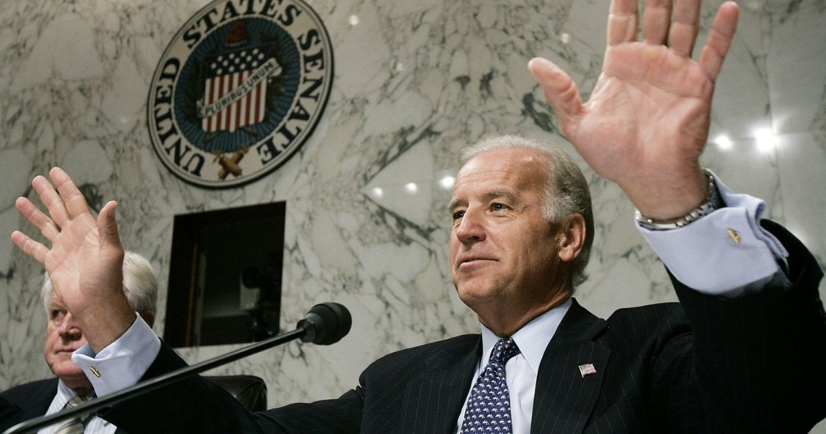 Then-Delaware Sen. Joe Biden questions then-Supreme Court Chief Justice nominee John Roberts during his third day of confirmation hearings Sept. 14, 2005, in Washington.