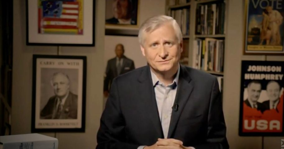 In this screenshot from the DNCC's livestream of the 2020 Democratic National Convention, author Jon Meacham addresses the virtual convention on Aug. 20.