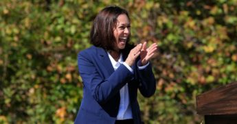 Democratic vice presidential nominee Sen. Kamala Harris of California addresses supporters at the University of North Carolina Asheville on Wednesday in Asheville, North Carolina.