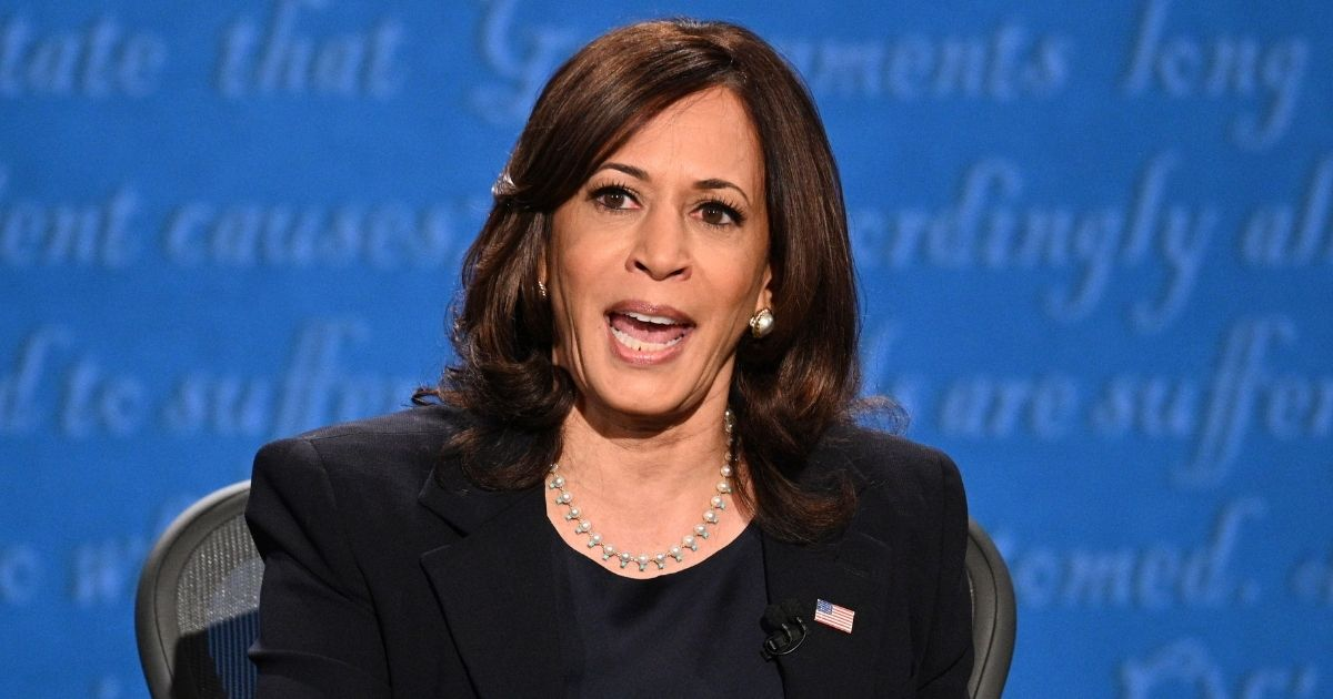 Democratic vice presidential nominee Kamala Harris gestures as she speaks during the vice presidential debate in Kingsbury Hall at the University of Utah in Salt Lake City on Wednesday.
