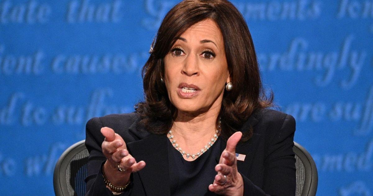 Democratic vice presidential nominee Sen. Kamala Harris gestures as she speaks during the vice presidential debate in Kingsbury Hall at the University of Utah in Salt Lake City on Oct. 7, 2020.