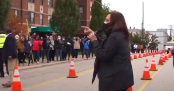 Democratic vice-presidential candidate Kamala Harris stopped outside the Cuyahoga County Board of Elections in Cleveland to speak to voters in line Saturday.