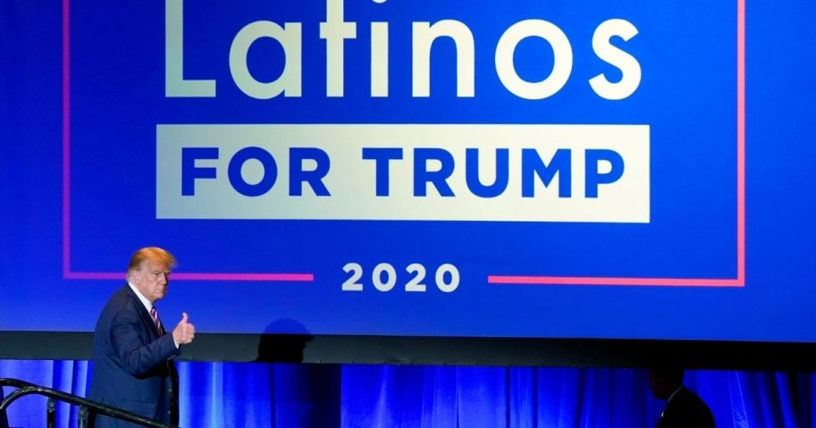 President Donald Trump give a thumbs up to the cheering crowd after a Latinos for Trump Coalition roundtable on Sept. 14, 2020, in Phoenix.