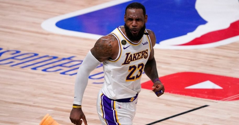 Los Angeles Lakers LeBron James star celebrates during the second half in Game 6 of basketball's NBA Finals against the Miami Heat on Oct. 11, 2020, in Lake Buena Vista, Florida.