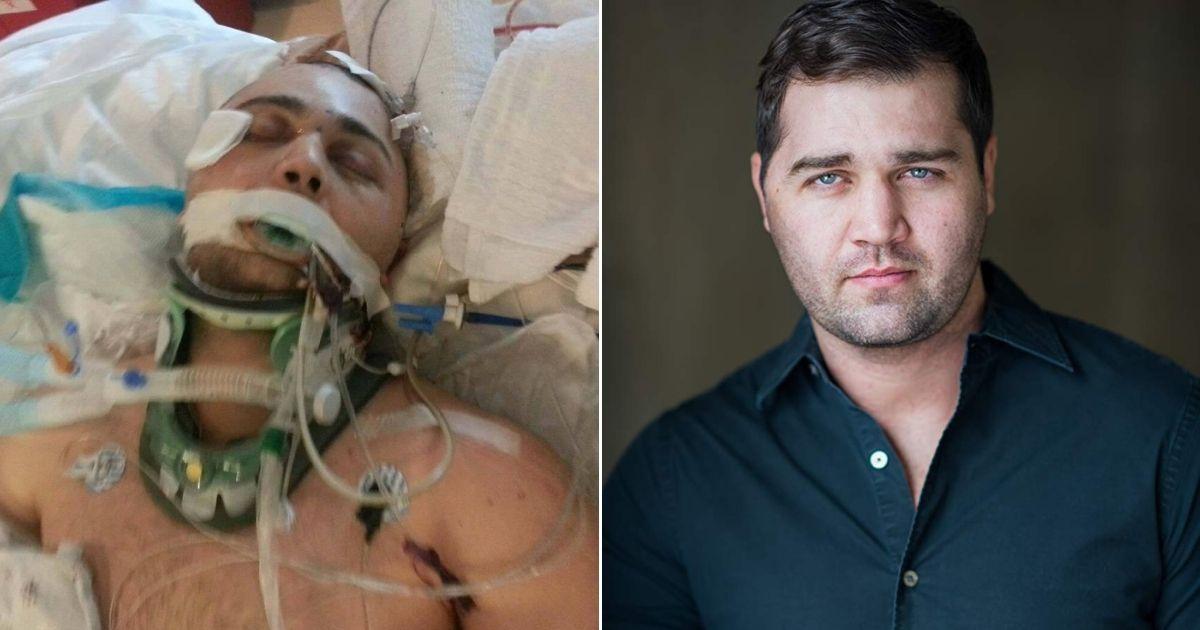 Luke Benjamin Bernard in the hospital, left, and now, right.