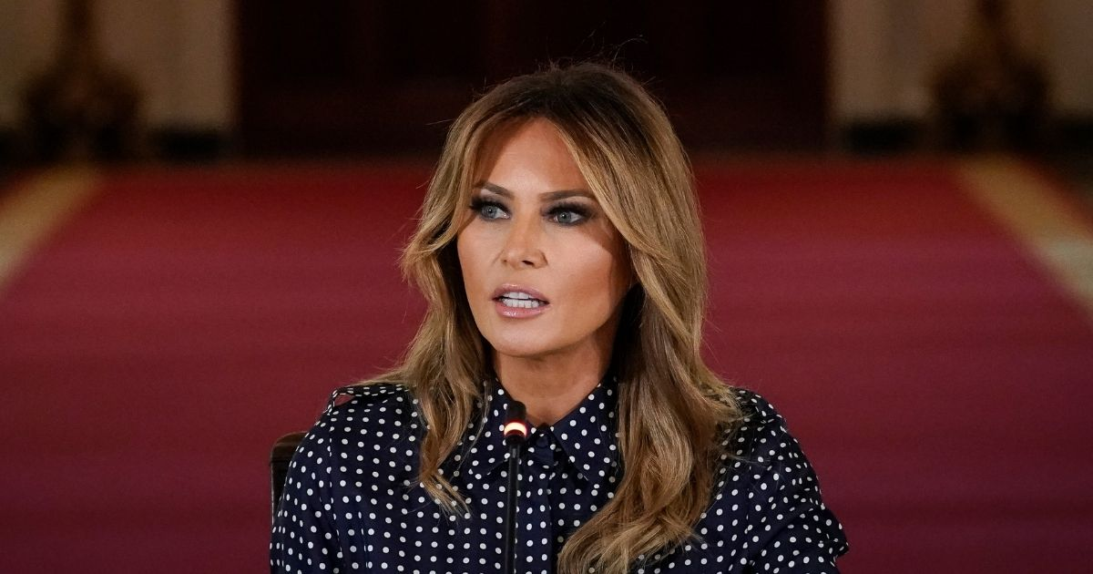 First lady Melania Trump speaks during an event to mark National Alcohol and Drug Addiction Recovery Month in the East Room of the White House on Sept. 3, 2020, in Washington, D.C.