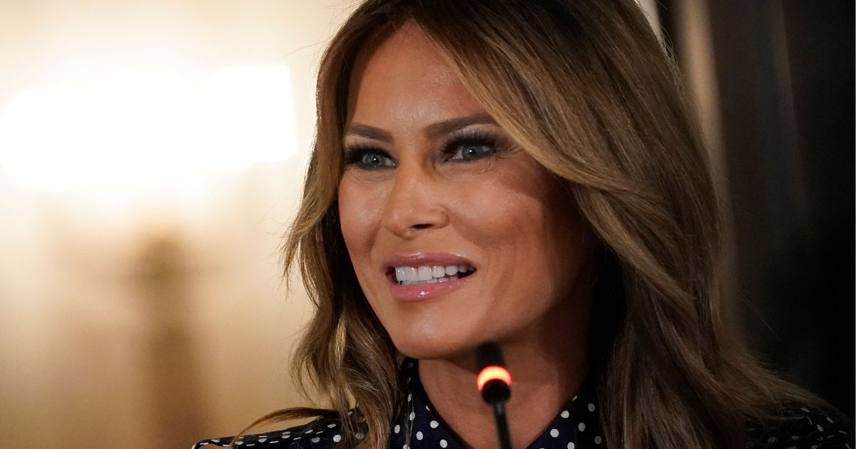 First lady Melania Trump speaks during an event to mark National Alcohol and Drug Addiction Recovery Month in the East Room of the White House on Sept. 3, 2020.