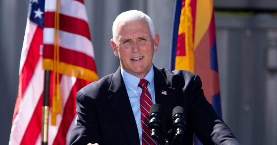 "Vice President Mike Pence speaks during a ""Make America Great Again"" event at TYR Tactical in Peoria, Arizona, on Thursday."
