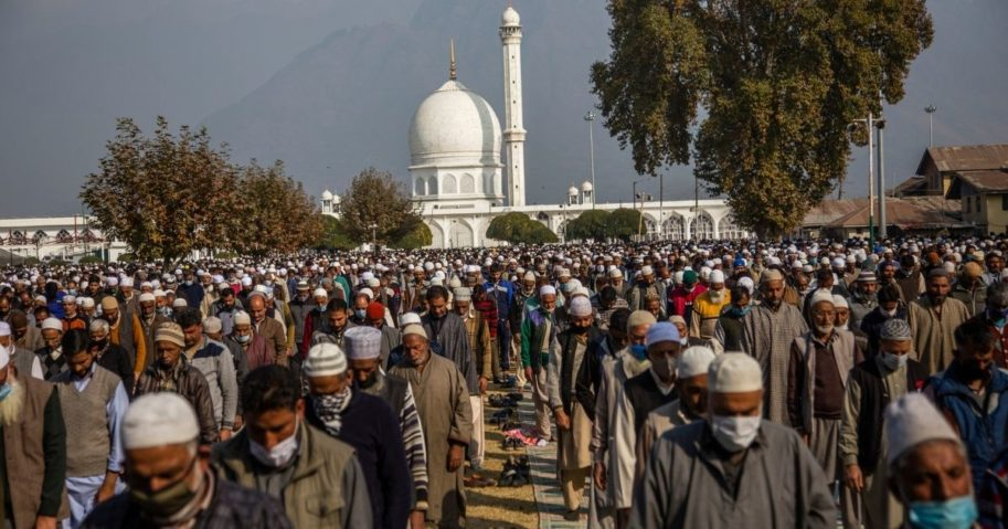 Kashmiri Muslims devotees pray at Hazratbal shrine on the, Eid-e-Milad or the birth anniversary of Prophet Mohammad on Oct. 30, 2020 in Kashmir, India.