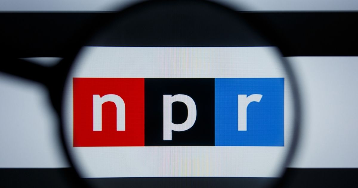 NPR's logo is pictured on a screen in the above stock image.
