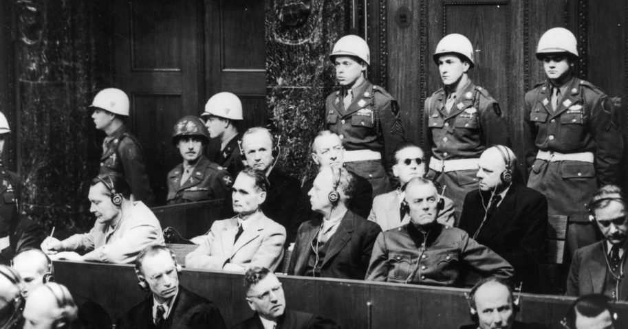 Nazi leaders are pictured at the Palace of Justice in Nuremberg, Germany, during the Nuremberg trials on Nov. 29, 1945.